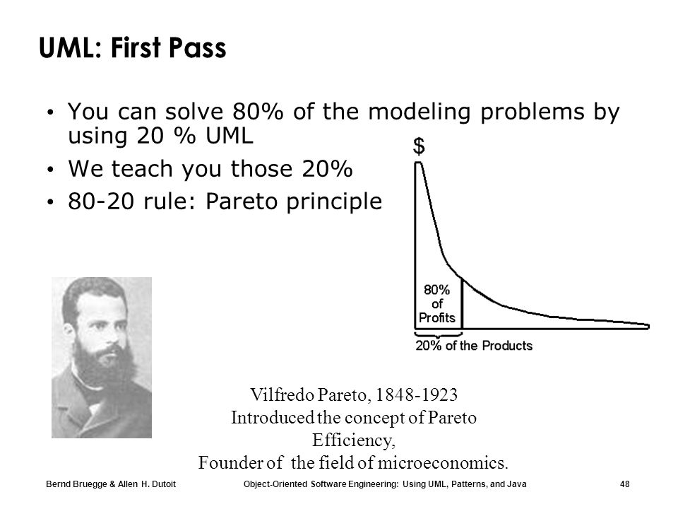 UML: First PassYou can solve 80% of the modeling problems by using 20 % UML. We teach you those 20%