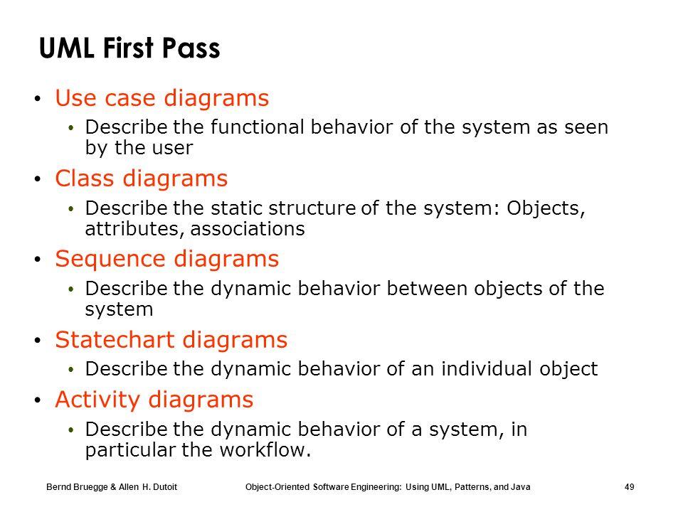 UML First Pass Use case diagrams Class diagrams Sequence diagrams