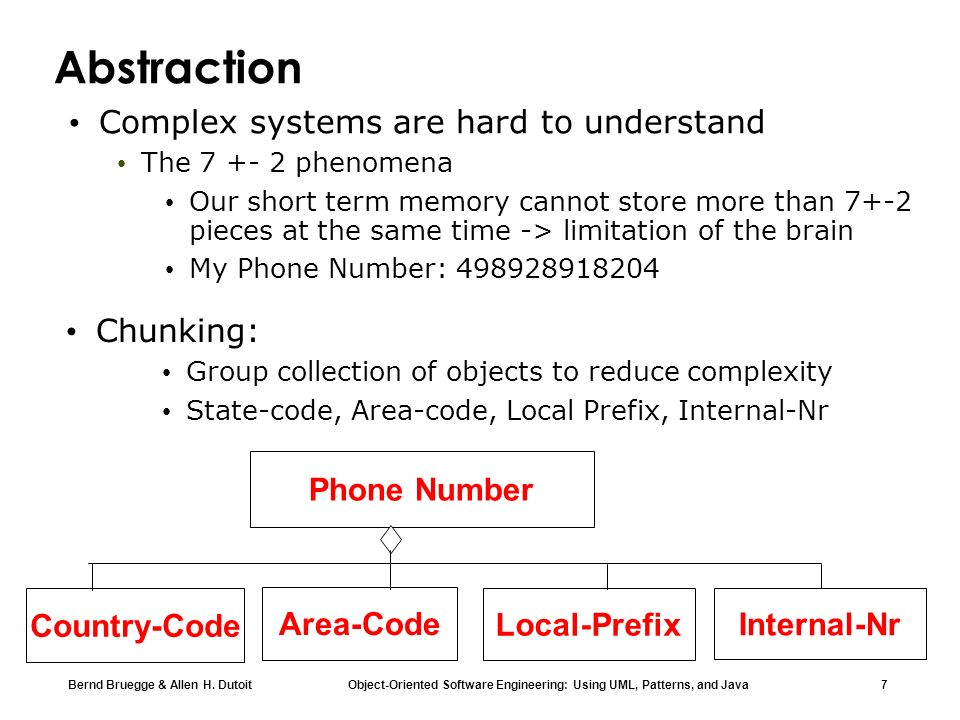 Abstraction Complex systems are hard to understand Chunking:
