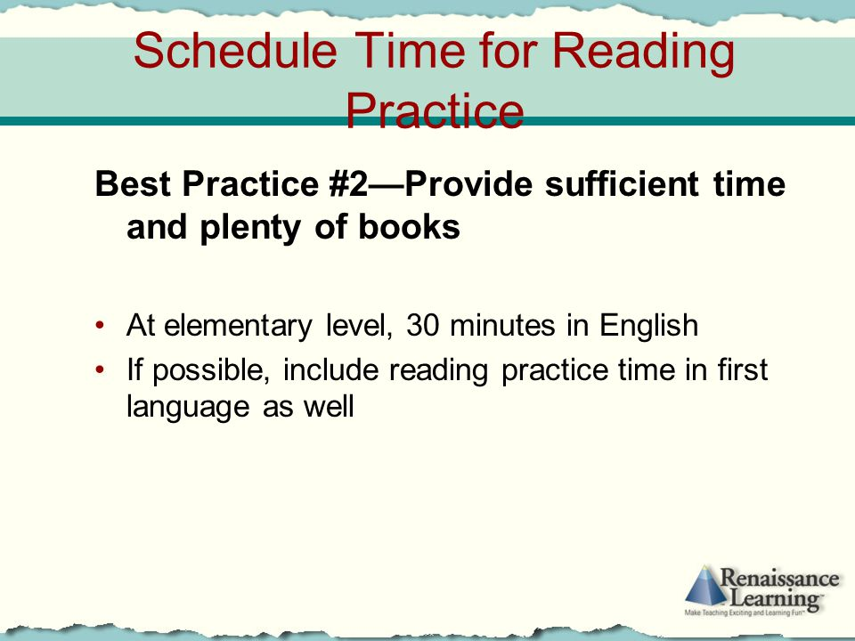 Schedule Time for Reading Practice