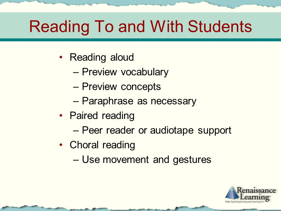 Reading To and With Students