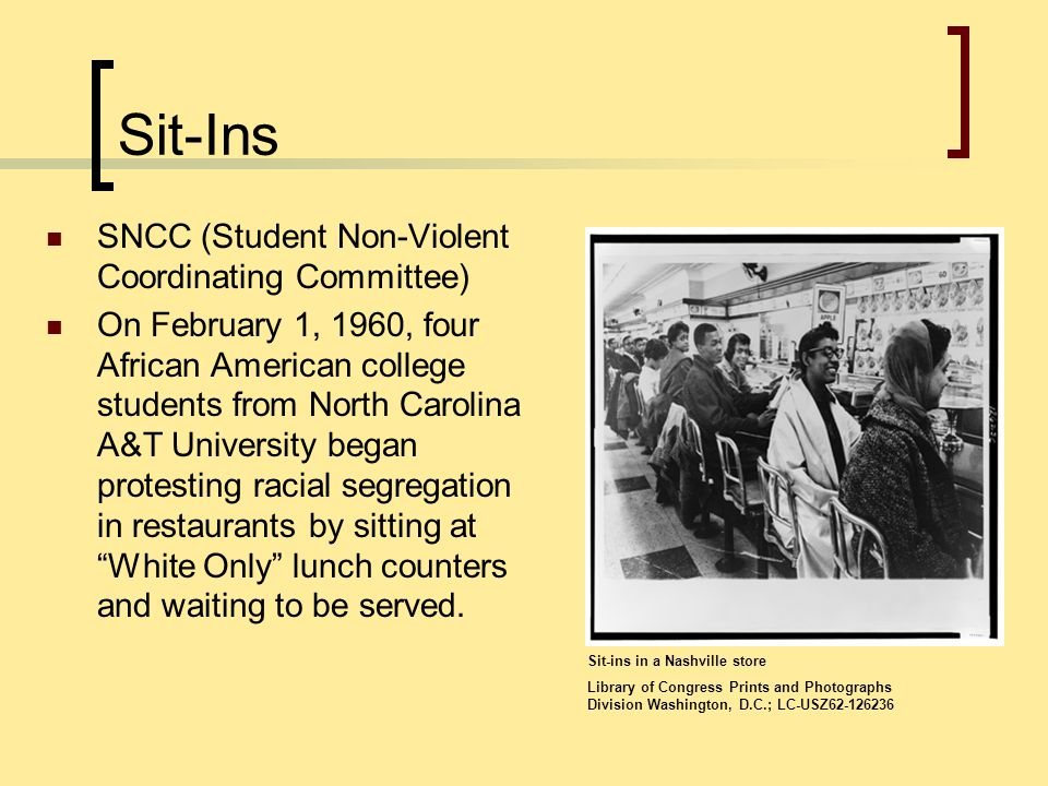 Sit-Ins SNCC (Student Non-Violent Coordinating Committee)