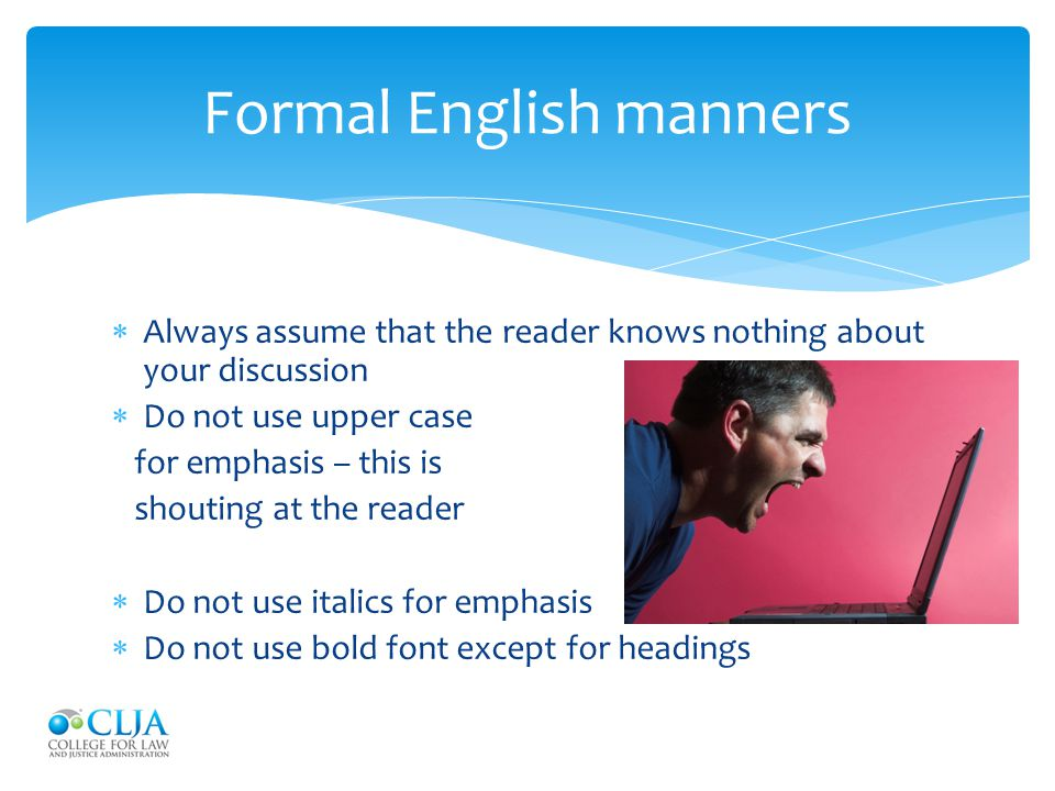 Formal English manners