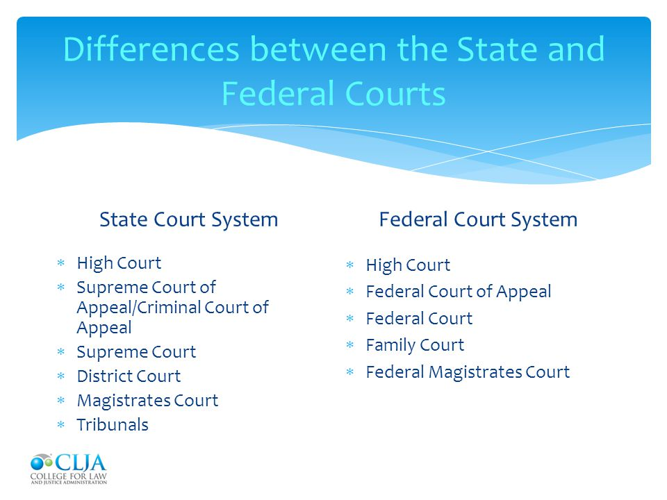 Differences between the State and Federal Courts