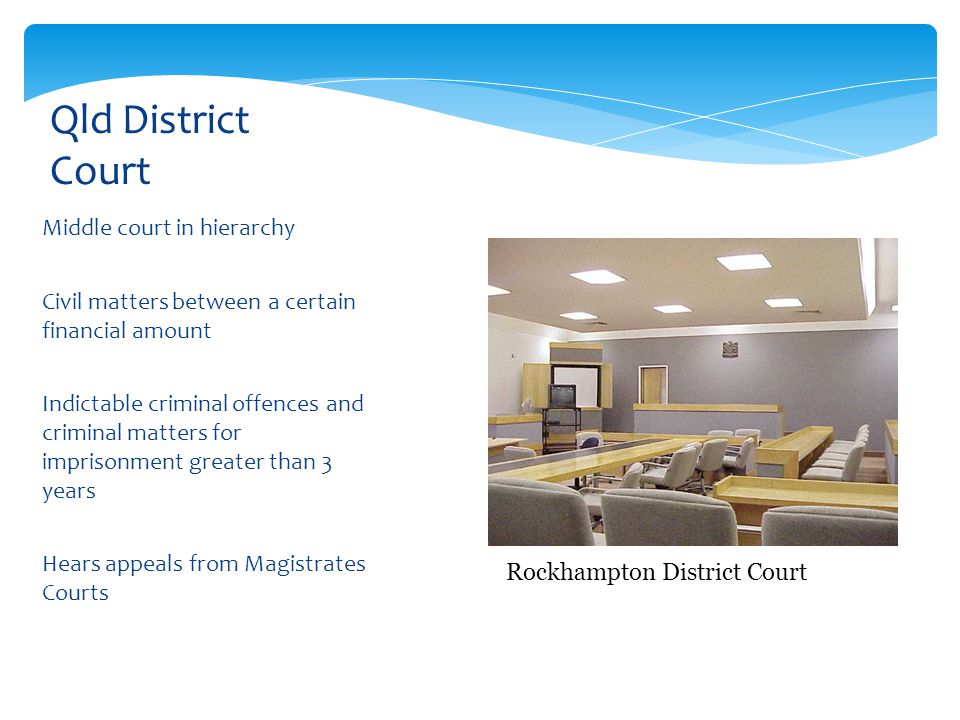 Qld District Court Middle court in hierarchy