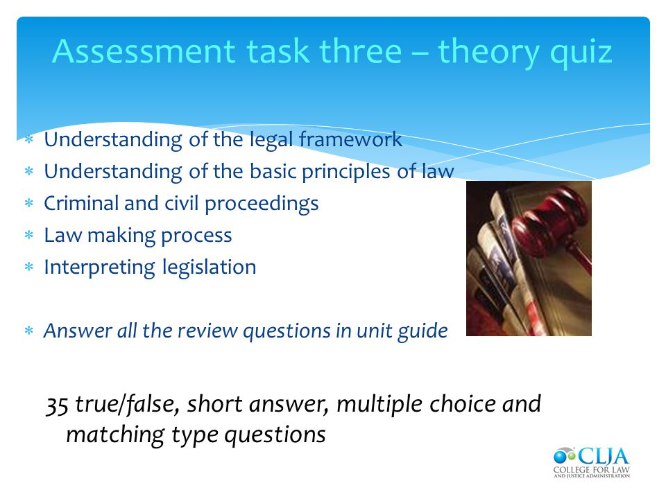 Assessment task three – theory quiz