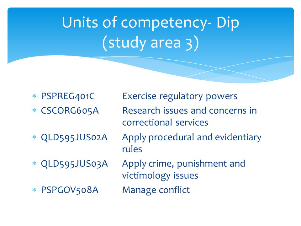 Units of competency- Dip (study area 3)