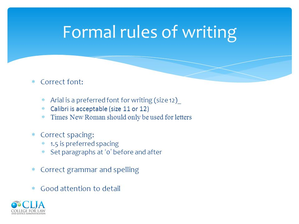 Formal rules of writing