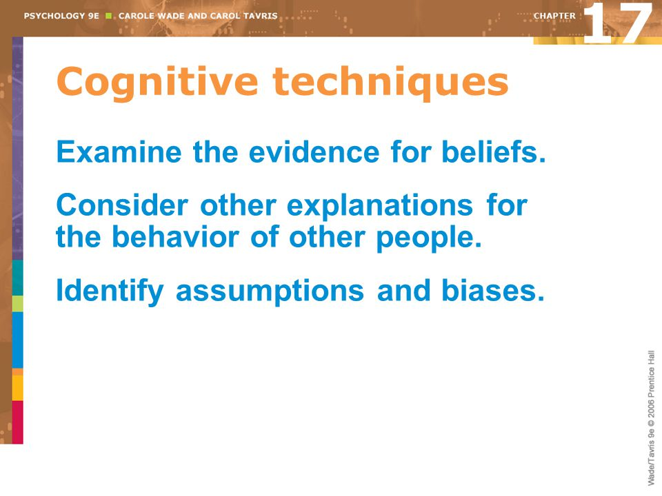17 Cognitive techniques Examine the evidence for beliefs.