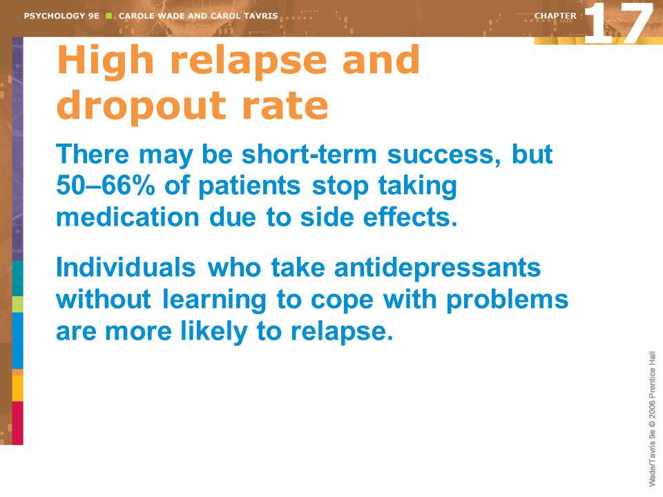 High relapse and dropout rate
