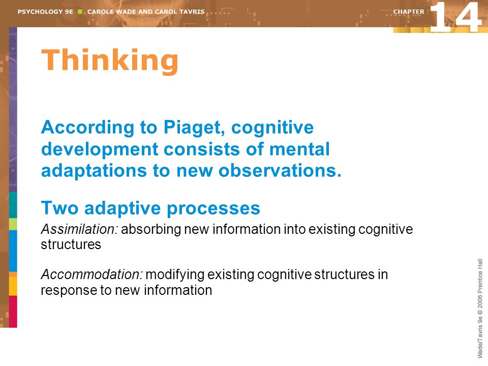 14 Thinking. According to Piaget, cognitive development consists of mental adaptations to new observations.