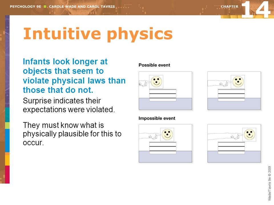 14 Intuitive physics. Infants look longer at objects that seem to violate physical laws than those that do not.