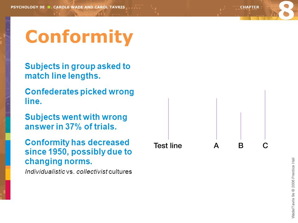 8 Conformity Subjects in group asked to match line lengths.
