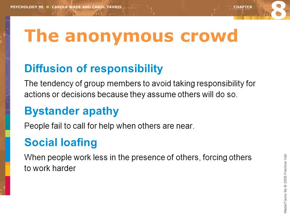 8 The anonymous crowd Diffusion of responsibility Bystander apathy