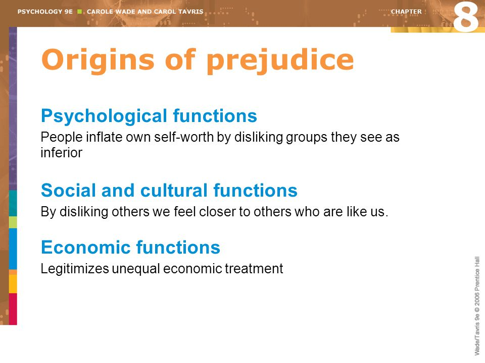 8 Origins of prejudice Psychological functions