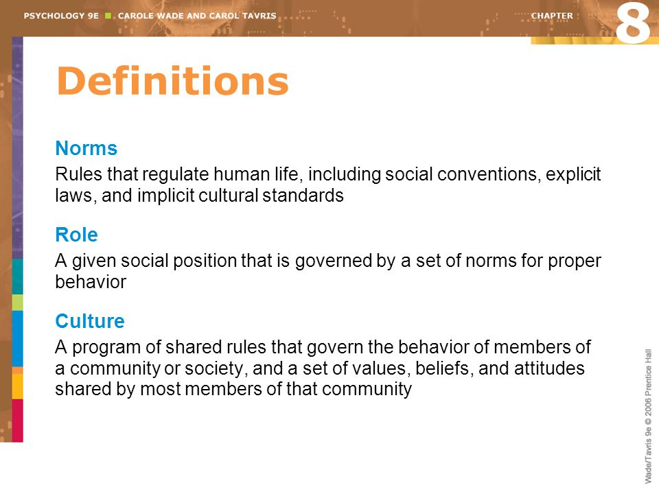 8 Definitions Norms Role Culture