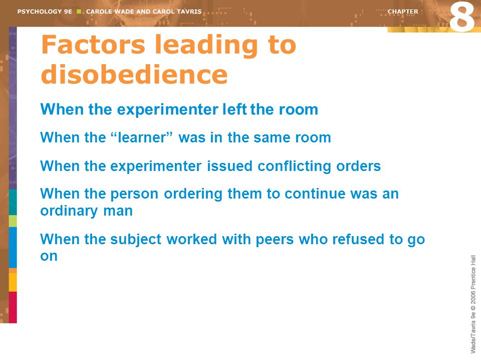 Factors leading to disobedience