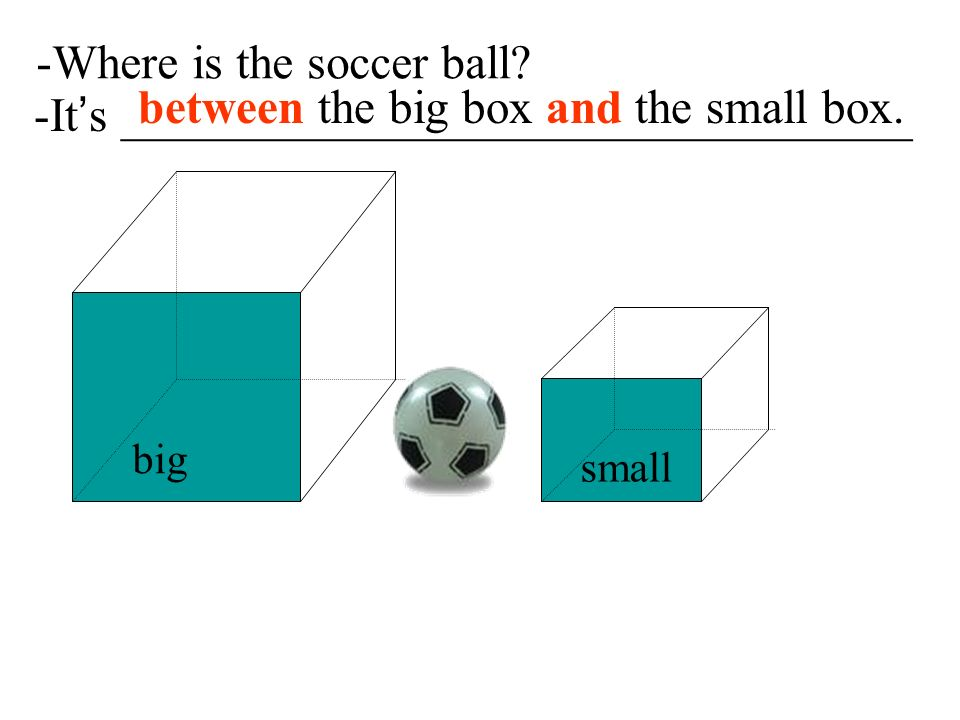-Where is the soccer ball between the big box and the small box.