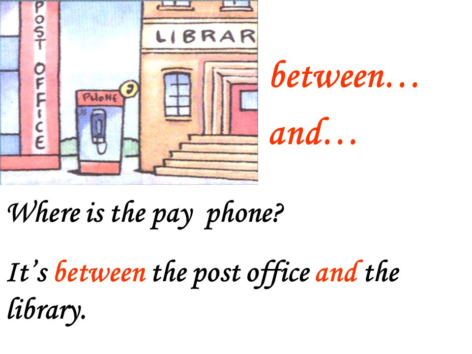 between… and… Where is the pay phone