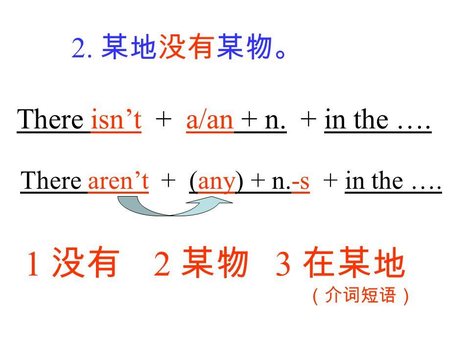 1 没有 2 某物 3 在某地 2. 某地没有某物。 There isn't + a/an + n. + in the ….