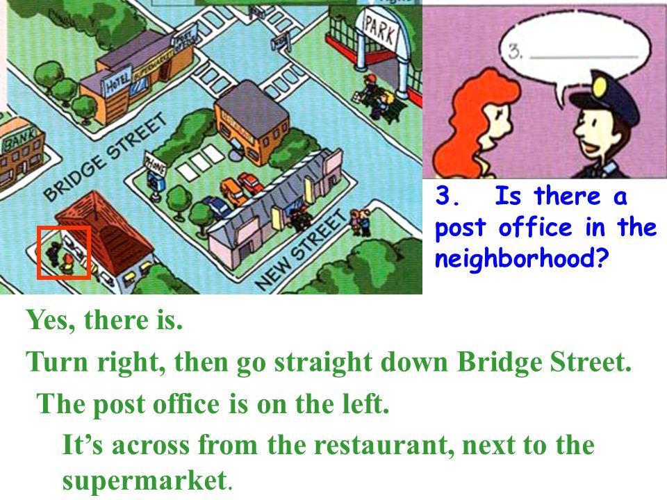 Turn right, then go straight down Bridge Street.