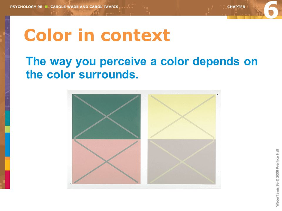 6 Color in context The way you perceive a color depends on the color surrounds.