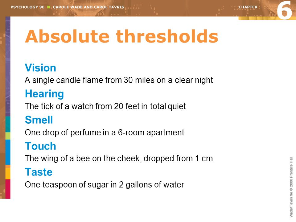6 Absolute thresholds Vision Hearing Smell Touch Taste