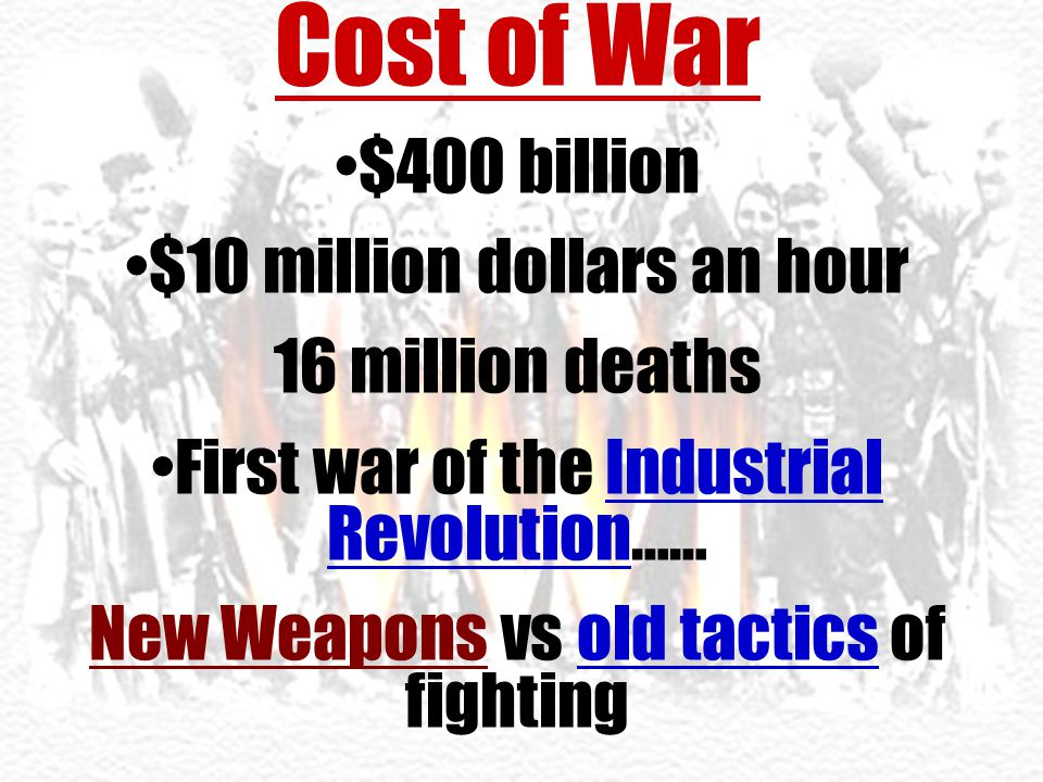 Cost of War $400 billion $10 million dollars an hour 16 million deaths