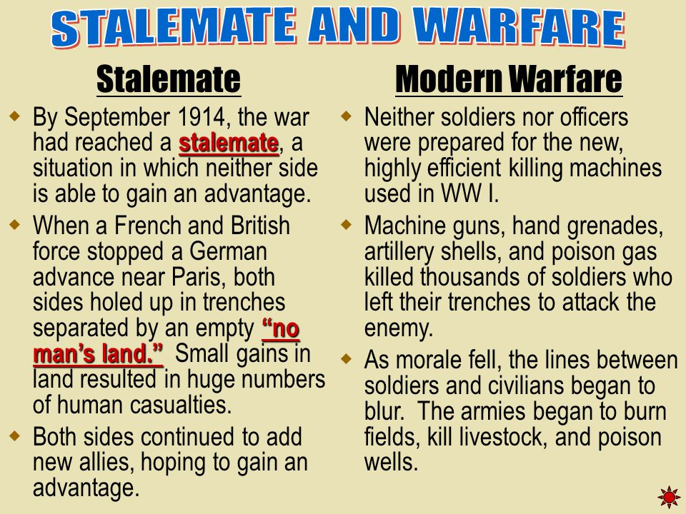 STALEMATE AND WARFARE Stalemate Modern Warfare