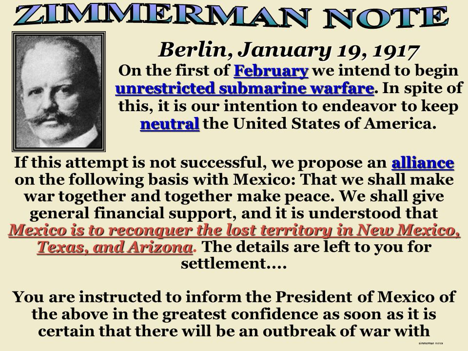ZIMMERMAN NOTE Berlin, January 19, 1917