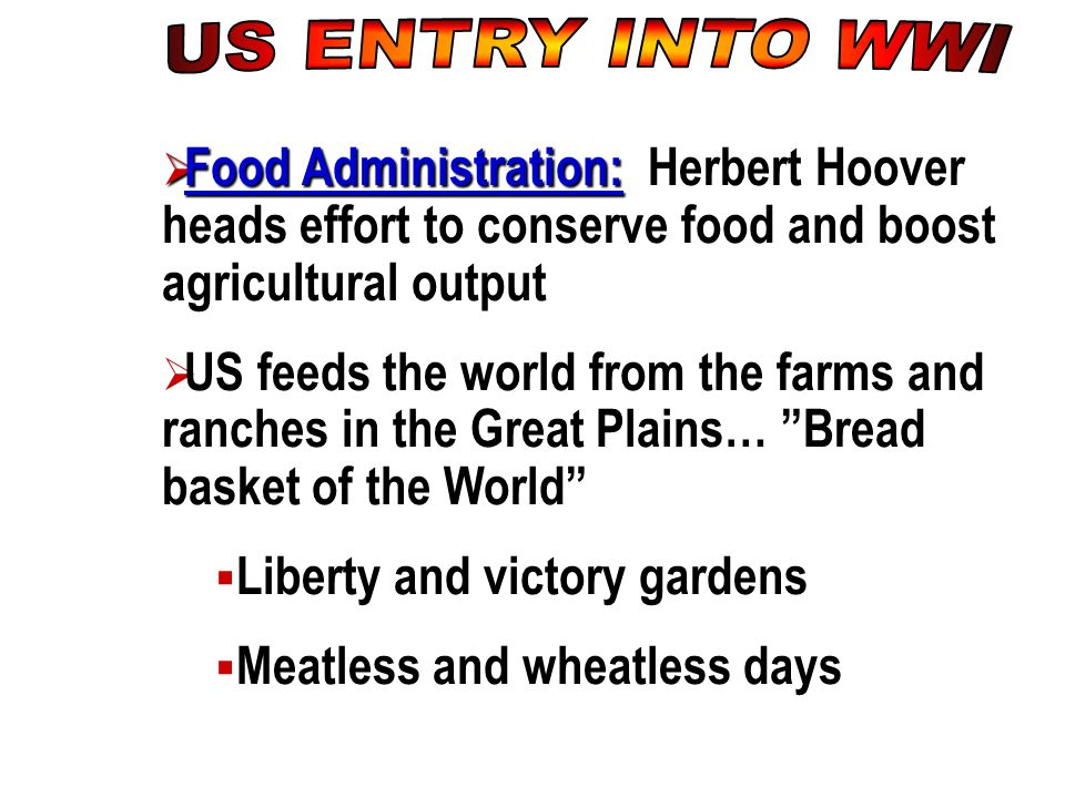 US ENTRY INTO WWI Food Administration: Herbert Hoover heads effort to conserve food and boost agricultural output.