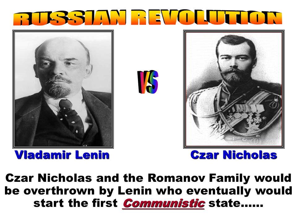 RUSSIAN REVOLUTION vs Vladamir Lenin Czar Nicholas