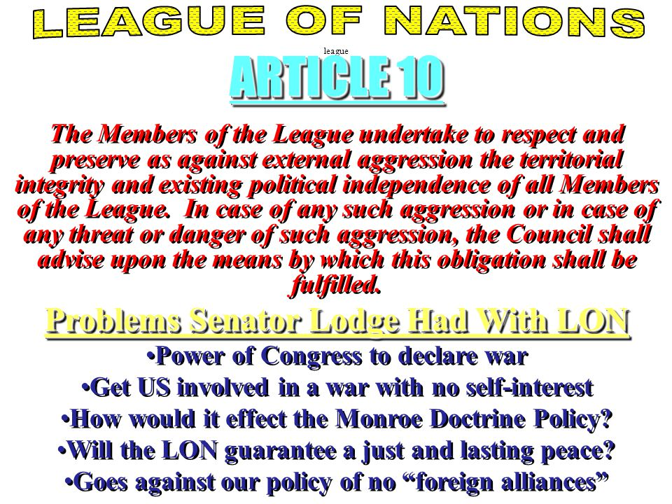 ARTICLE 10 Problems Senator Lodge Had With LON