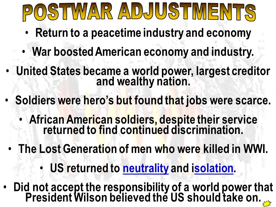 POSTWAR ADJUSTMENTS Return to a peacetime industry and economy