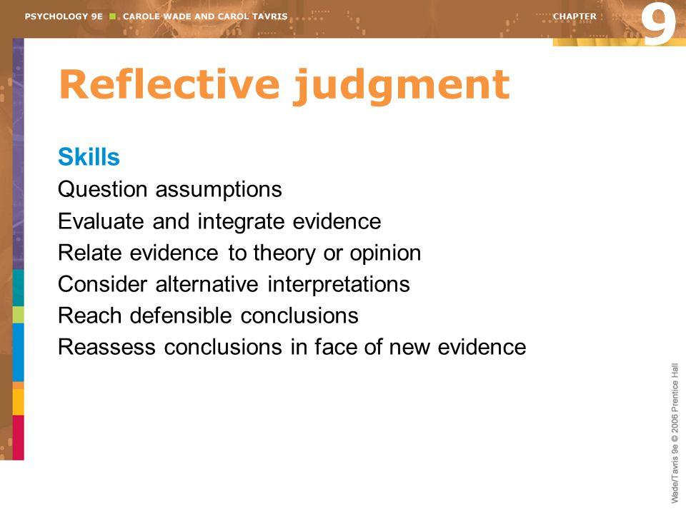 9 Reflective judgment Skills Question assumptions