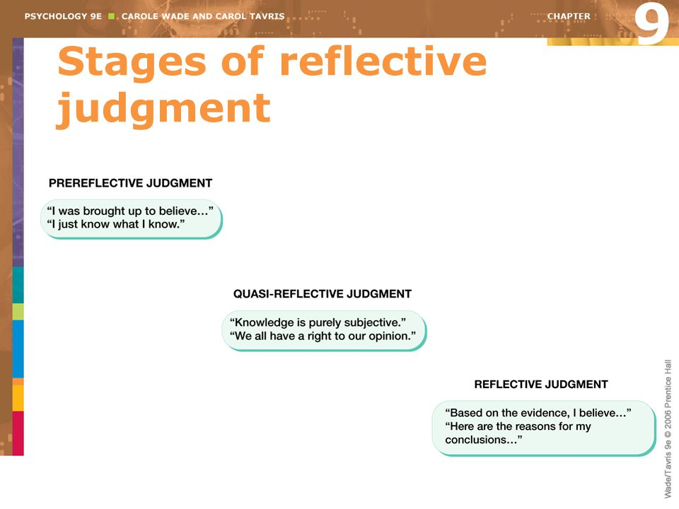 Stages of reflective judgment