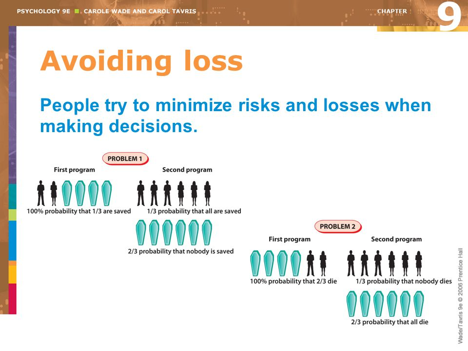 9 Avoiding loss People try to minimize risks and losses when making decisions.