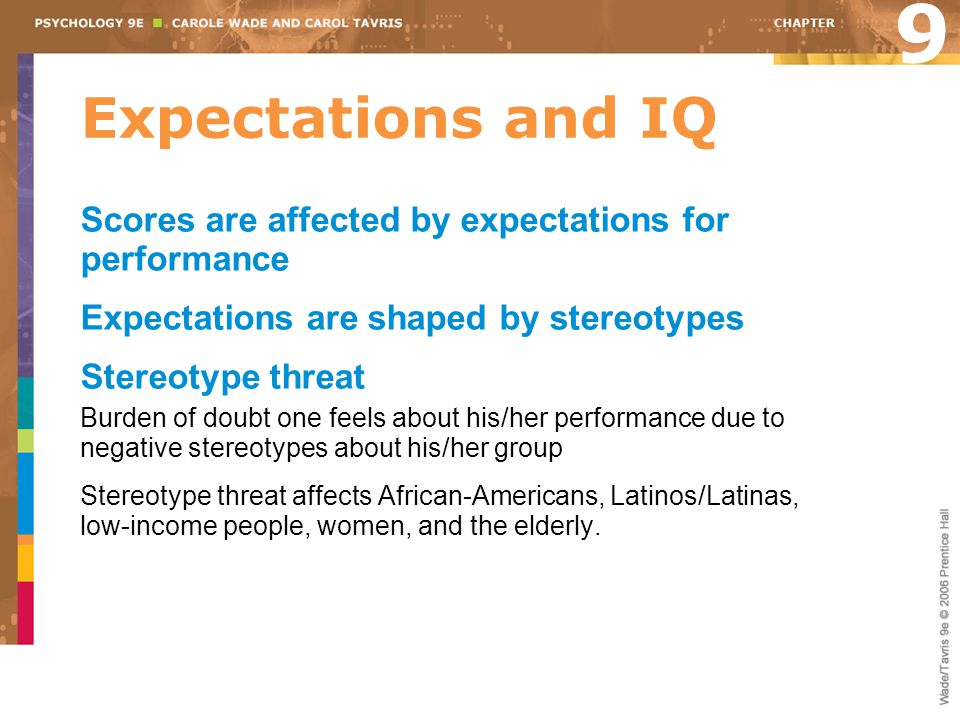 9 Expectations and IQ. Scores are affected by expectations for performance. Expectations are shaped by stereotypes.