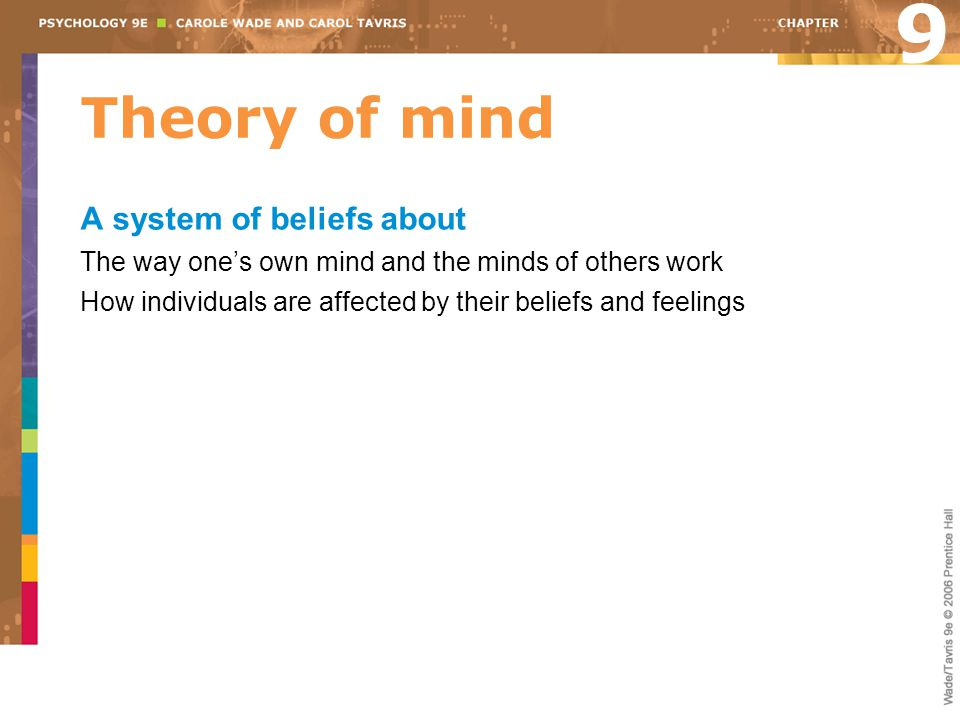 9 Theory of mind A system of beliefs about