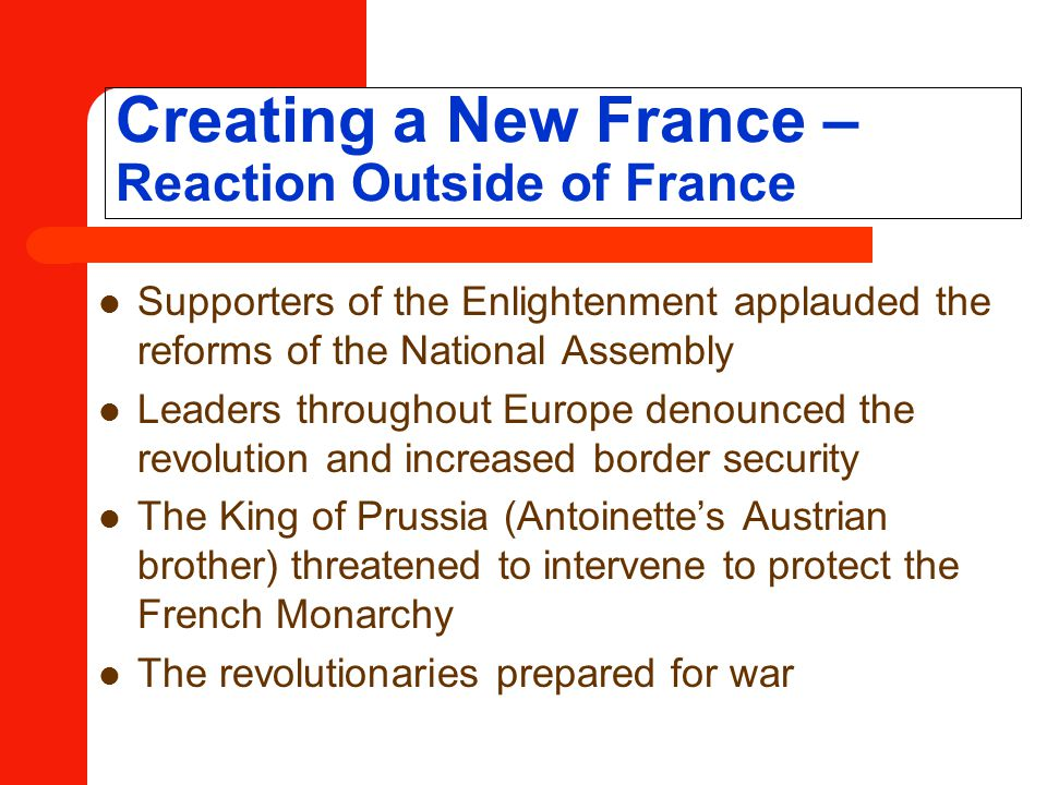Creating a New France – Reaction Outside of France