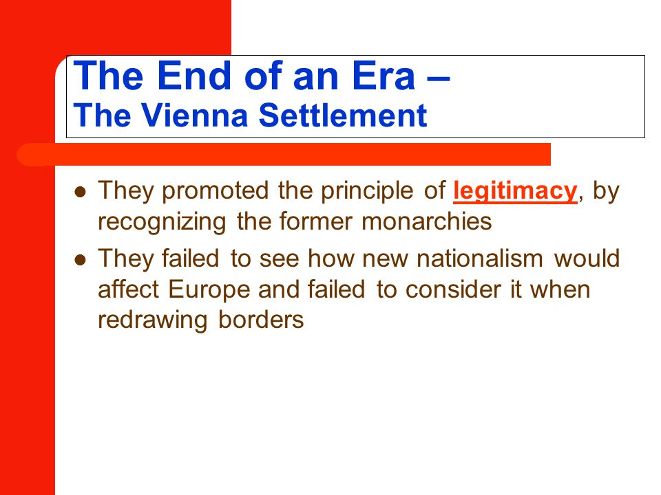 The End of an Era – The Vienna Settlement