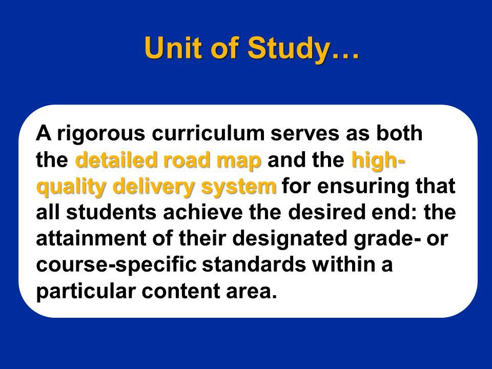 Unit of Study…
