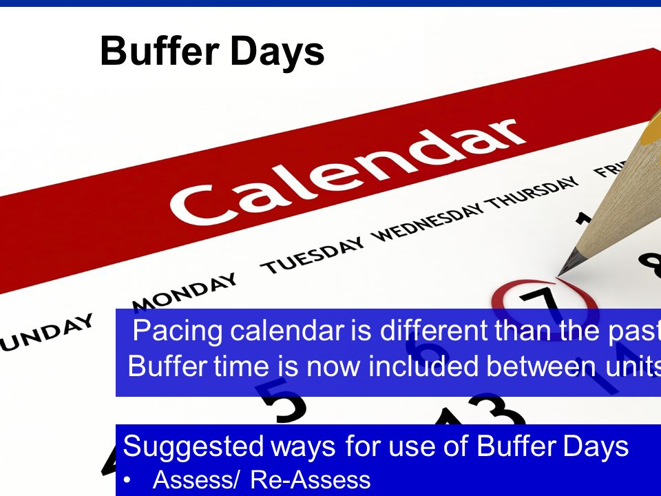 Buffer Days Pacing calendar is different than the past. Buffer time is now included between units.