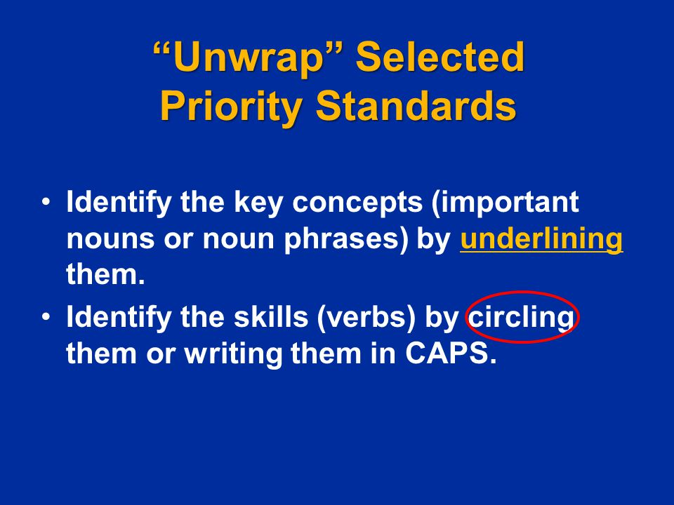 Unwrap Selected Priority Standards