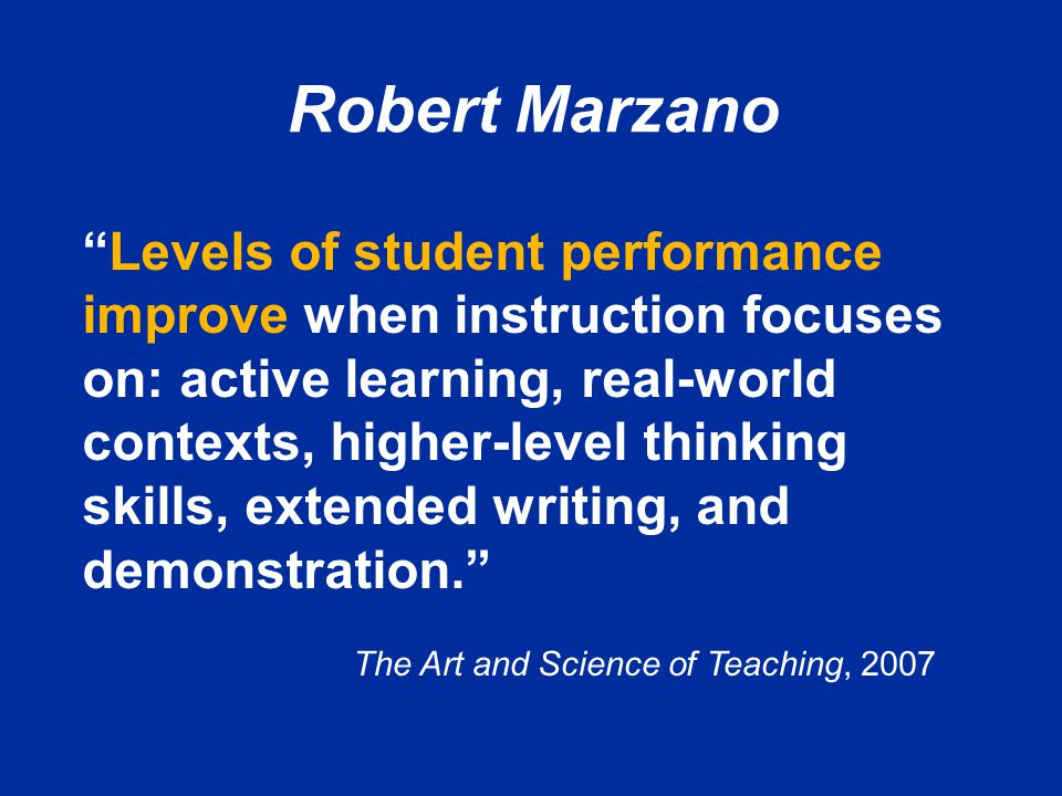 The Art and Science of Teaching, 2007