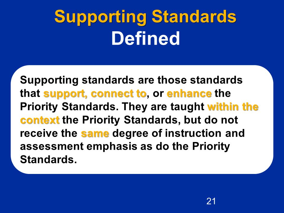 Defined Supporting Standards