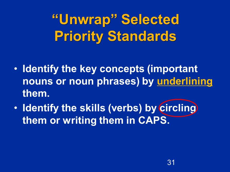 Unwrap Selected Priority Standards