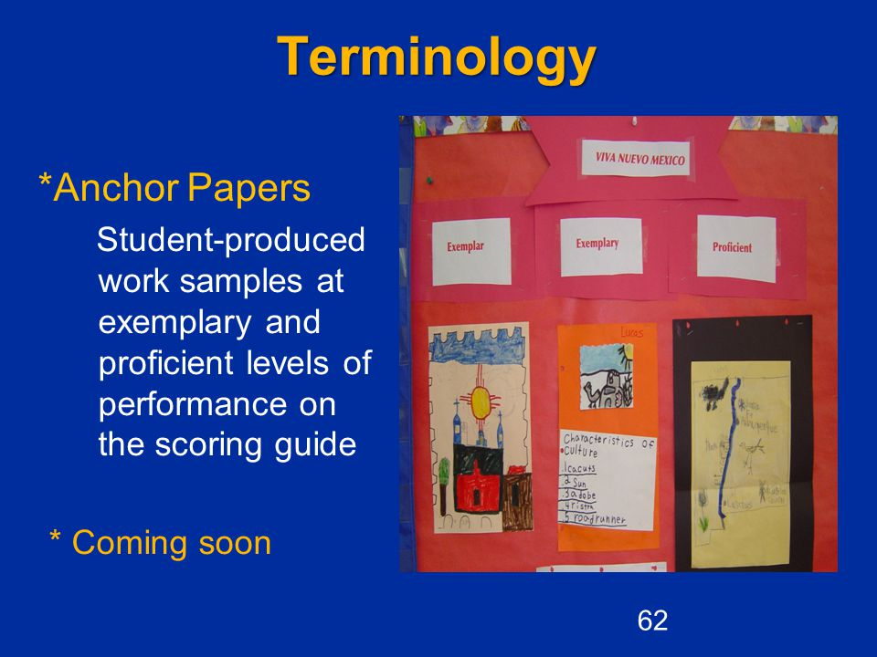 Terminology *Anchor Papers