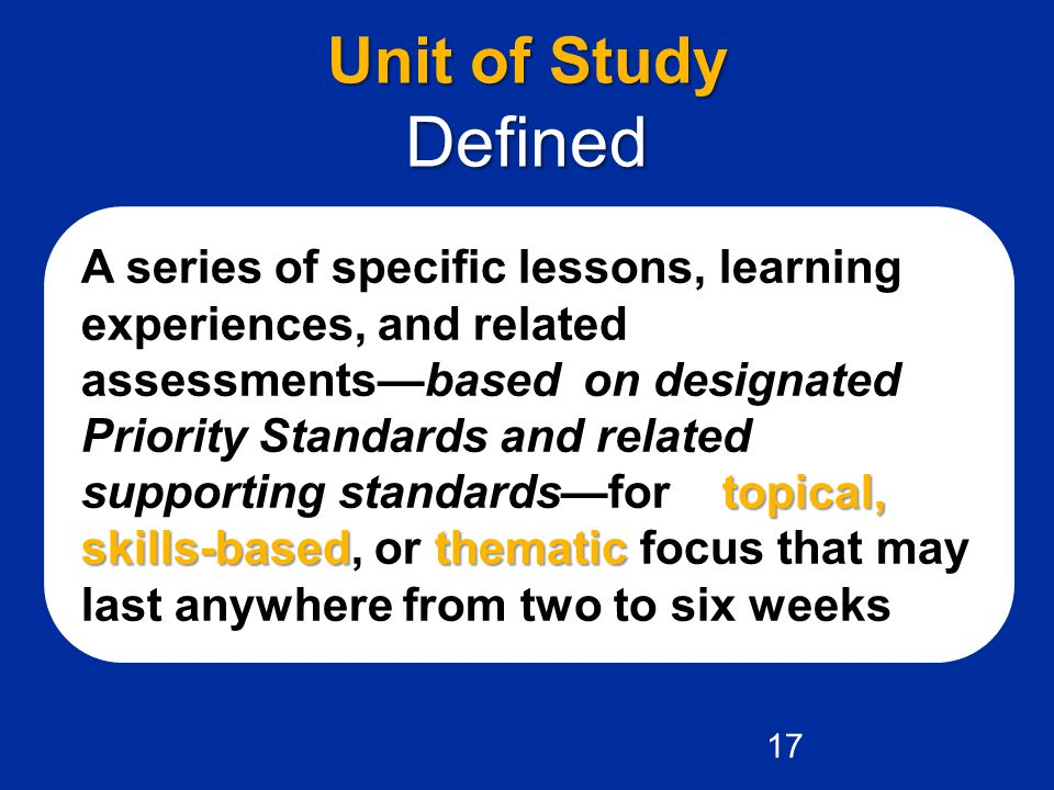 Unit of Study Defined.