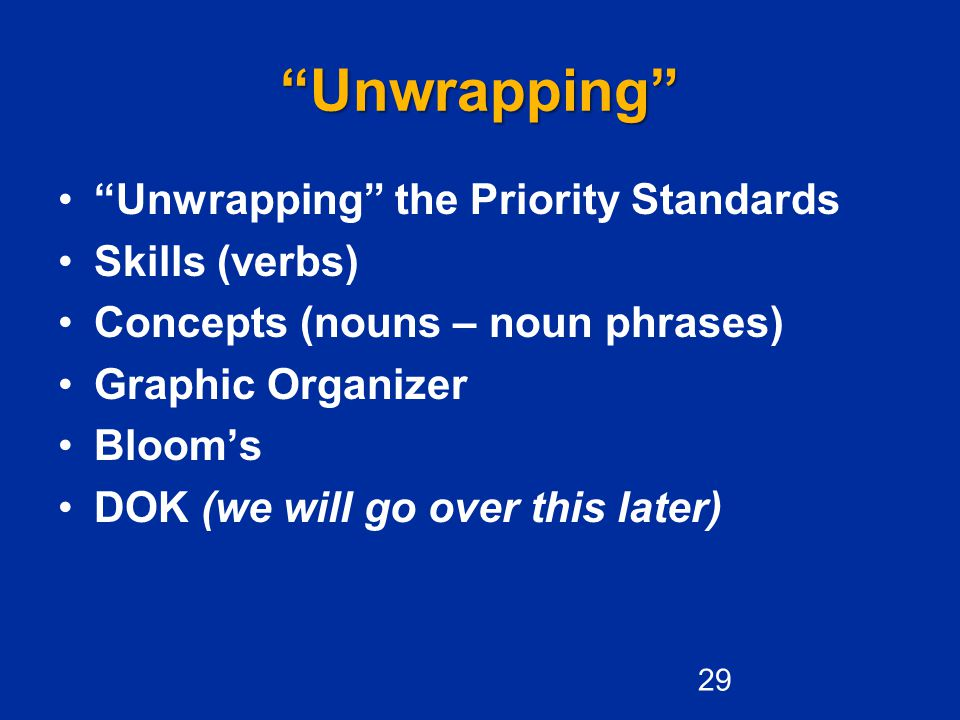 Unwrapping Unwrapping the Priority Standards Skills (verbs)